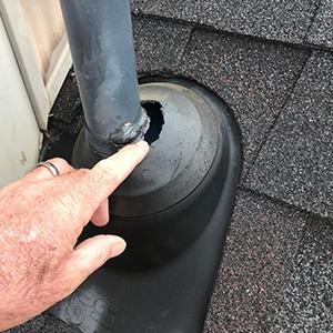 Flashing damage on a roof